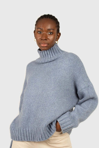 Blue turtleneck drop shoulder wool jumper1