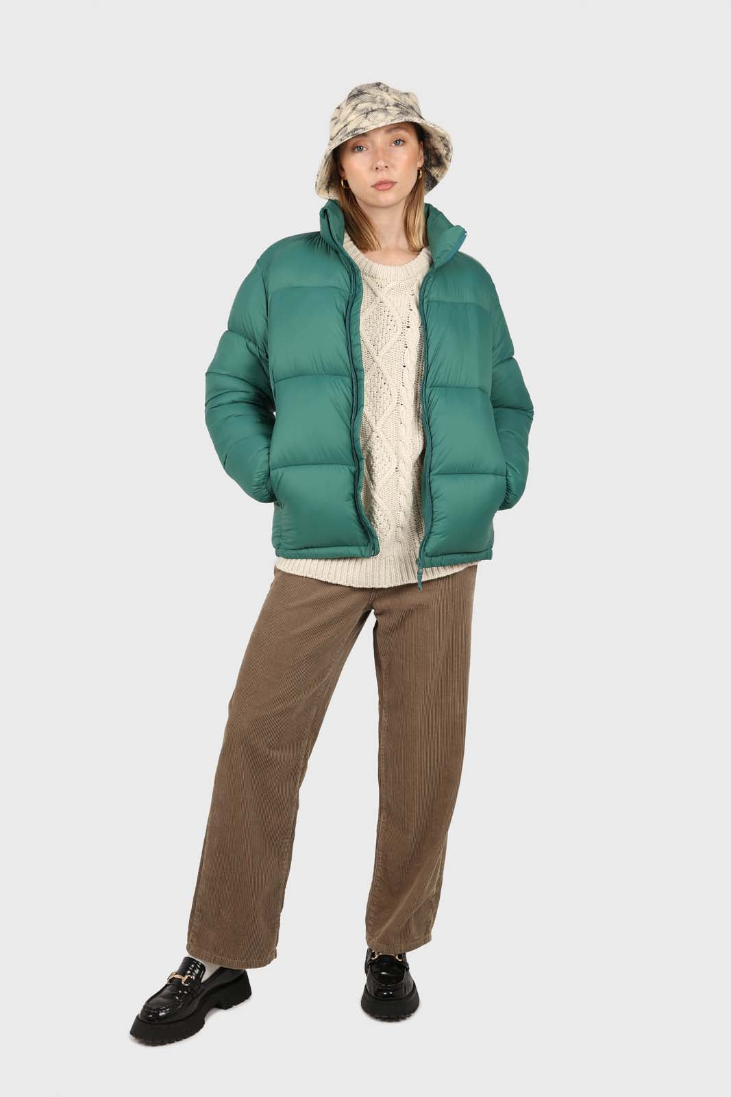 Teal thick classic puffer jacket2