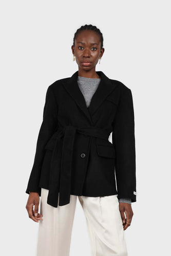 Black wool handmade tailored belted half coat1sx