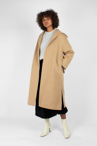 Camel wool handmade hooded long coat1