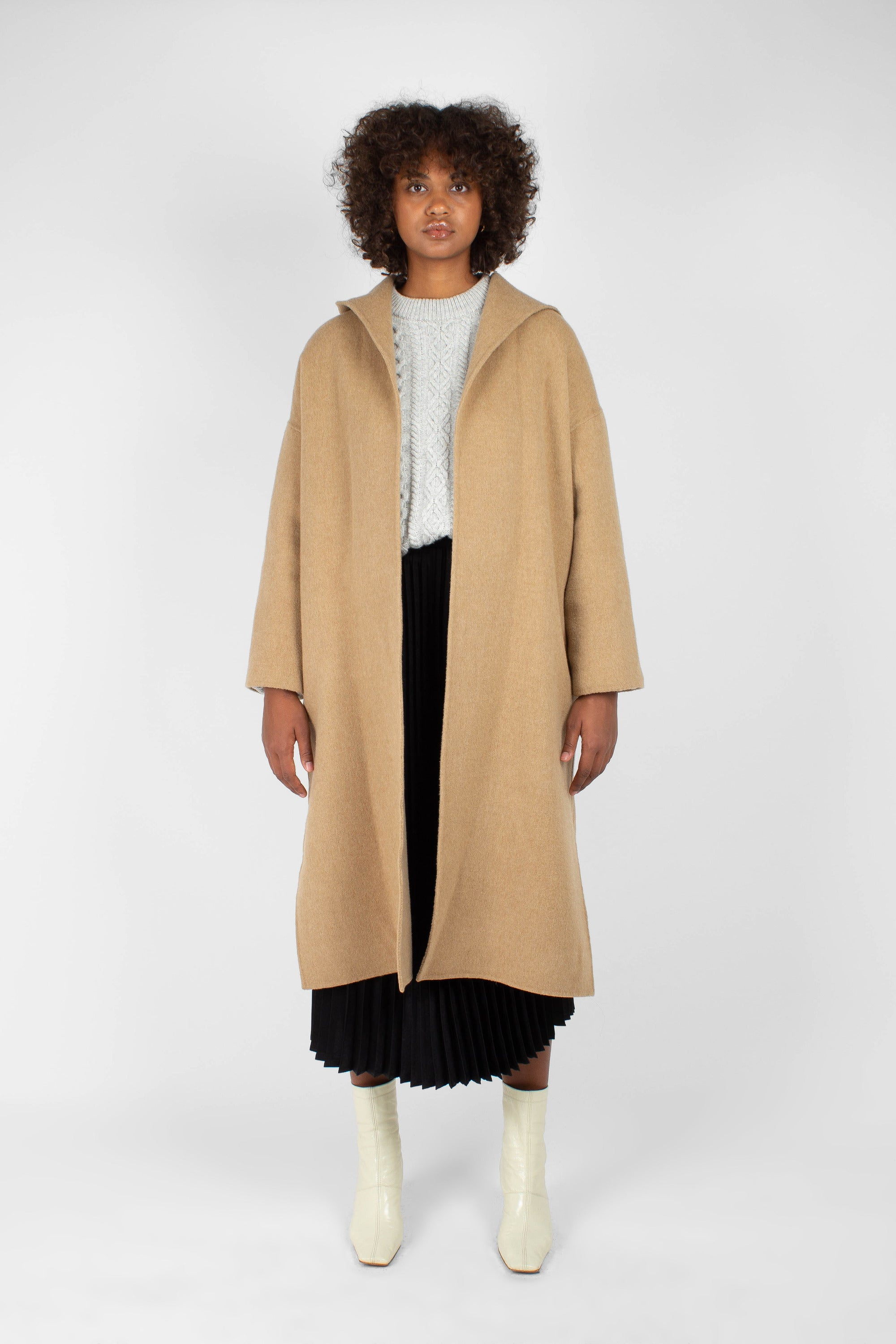 Camel wool handmade hooded long coat2