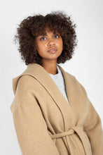 Load image into Gallery viewer, Camel wool handmade hooded long coat6