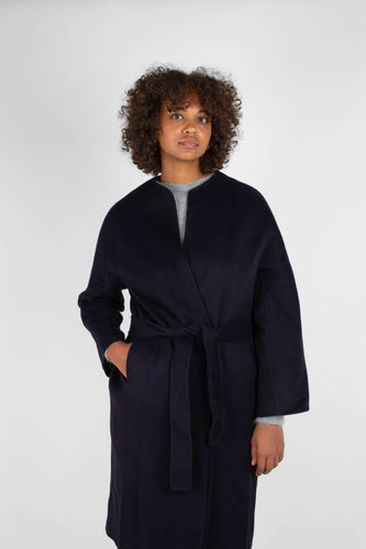 Navy pure cashmere-wool round neck handmade belted coat4