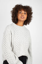 Load image into Gallery viewer, Grey thick wool cableknit jumper3