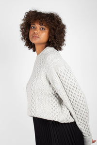 Grey thick wool cableknit jumper4