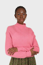 Load image into Gallery viewer, Hot pink alpaca illusion bustier mock neck jumper1sx