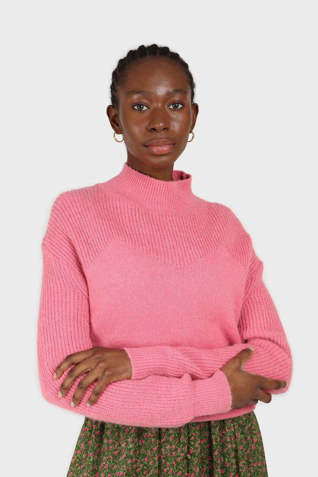 Hot pink alpaca illusion bustier mock neck jumper1sx