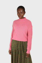 Load image into Gallery viewer, Hot pink alpaca illusion bustier mock neck jumper3