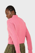 Load image into Gallery viewer, Hot pink alpaca illusion bustier mock neck jumper5