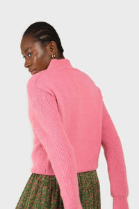 Hot pink alpaca illusion bustier mock neck jumper5