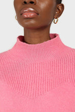 Load image into Gallery viewer, Hot pink alpaca illusion bustier mock neck jumper6
