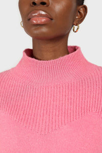 Hot pink alpaca illusion bustier mock neck jumper6