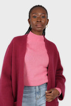 Load image into Gallery viewer, Hot pink alpaca illusion bustier mock neck jumper8