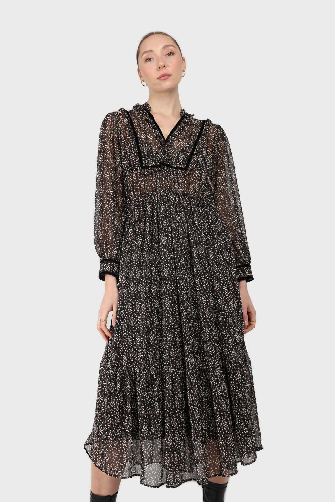 Black chiffon velvet trim floral maxi dress3