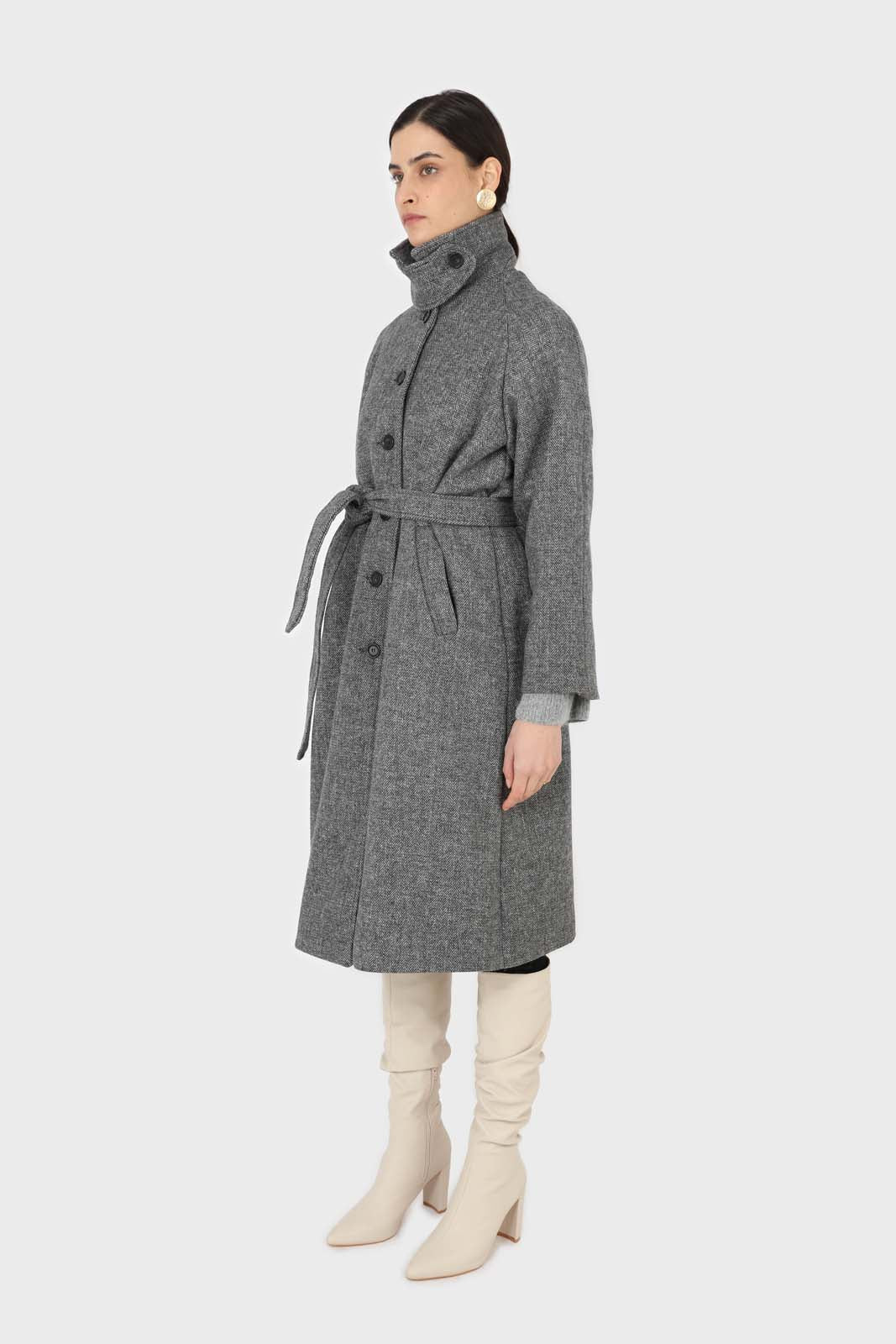 Black herringbone wool long coat10