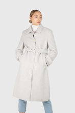 Load image into Gallery viewer, Light blue vegan mustang belted long coat1