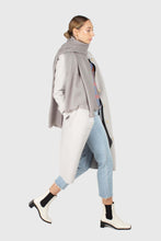 Load image into Gallery viewer, Light blue vegan mustang belted long coat2