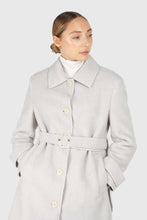 Load image into Gallery viewer, Light blue vegan mustang belted long coat3