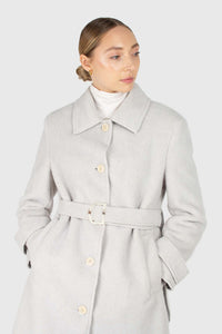 Light blue vegan mustang belted long coat3
