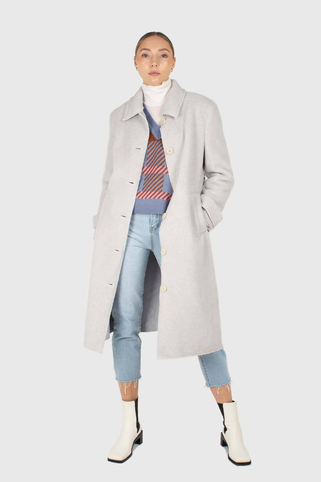 Light blue vegan mustang belted long coat7