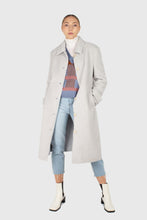 Load image into Gallery viewer, Light blue vegan mustang belted long coat7