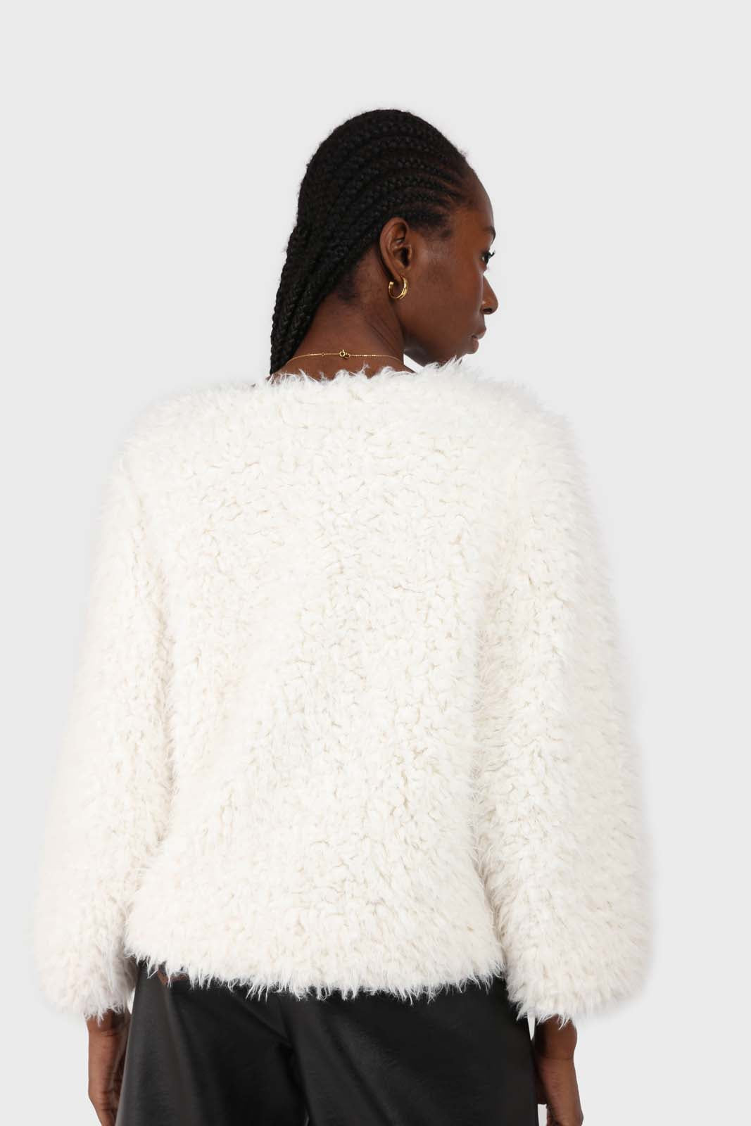 Ivory thick fuzzy tufts long sleeved top 3