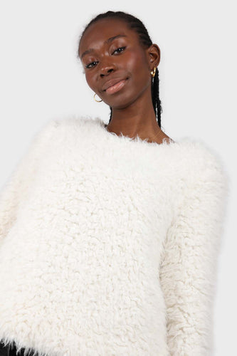 Ivory thick fuzzy tufts long sleeved top sx