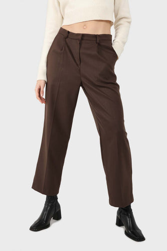 Brown wool tucked tailored trousers1