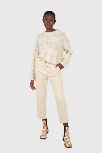Ivory thick dart front loose fit corduroy drawstring trousers2