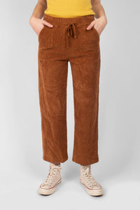 Camel thick dart front straight fit corduroy drawstring trousers1