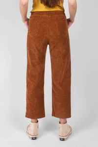 Camel thick dart front straight fit corduroy drawstring trousers2