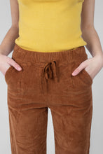 Load image into Gallery viewer, Camel thick dart front straight fit corduroy drawstring trousers3