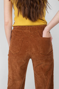 Camel thick dart front straight fit corduroy drawstring trousers4