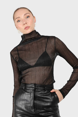 Black metallic sheer turtleneck top1sx