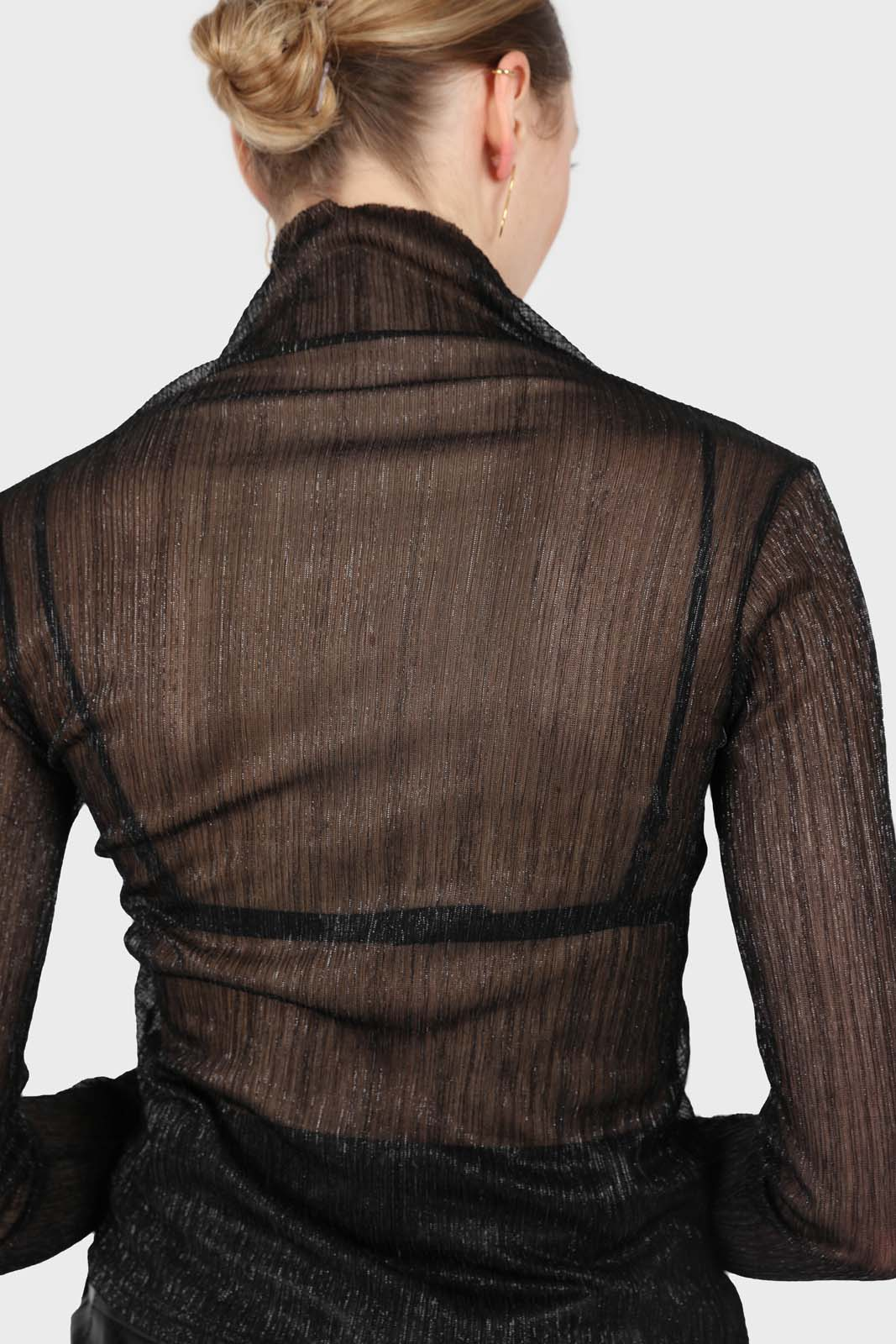 Black metallic sheer turtleneck top2