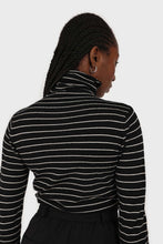 Load image into Gallery viewer, Black and white striped turtleneck long sleeved top 3