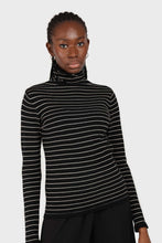 Load image into Gallery viewer, Black and white striped turtleneck long sleeved top 4