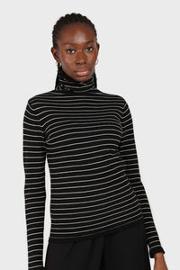 Black and white striped turtleneck long sleeved top 4