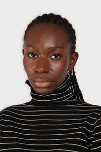 Black and white striped turtleneck long sleeved top 5