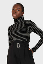 Load image into Gallery viewer, Black and white striped turtleneck long sleeved top sx