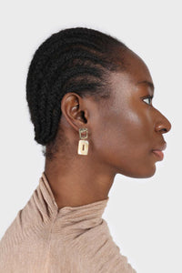 Gold and beige marble drop earrings3