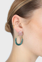 Load image into Gallery viewer, Pink and gold teal drop circle earrings1sx
