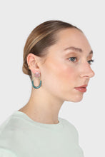 Load image into Gallery viewer, Pink and gold teal drop circle earrings2