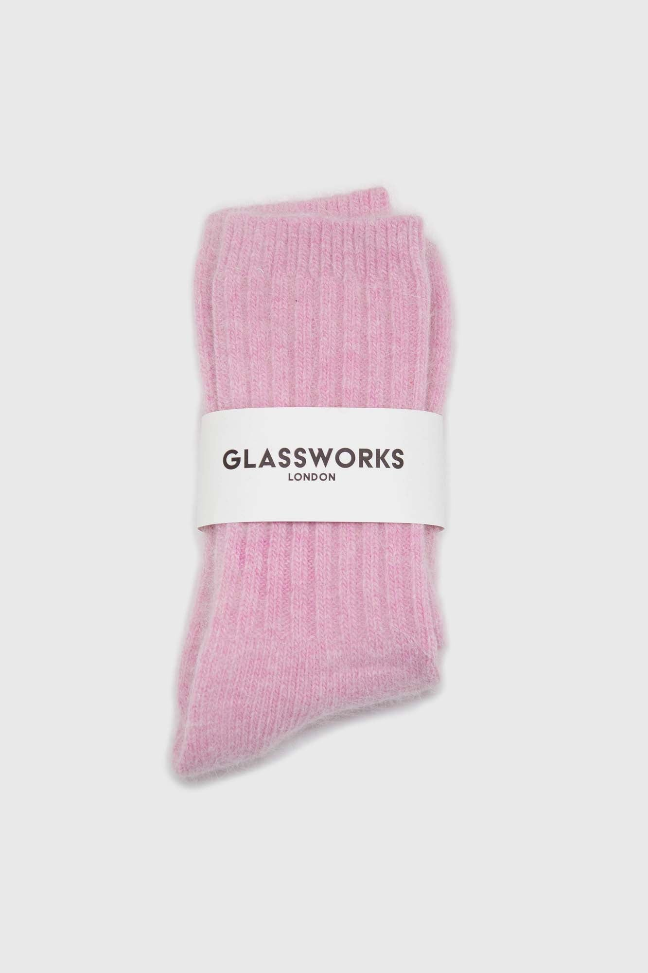 Pastel pink ribbed angora long socks2