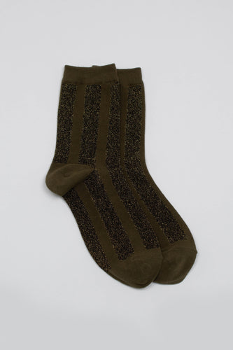 Khaki and gold glitter vertical striped socks_PFFBA2