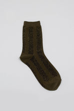 Load image into Gallery viewer, Khaki and gold glitter vertical striped socks_PFFBA3