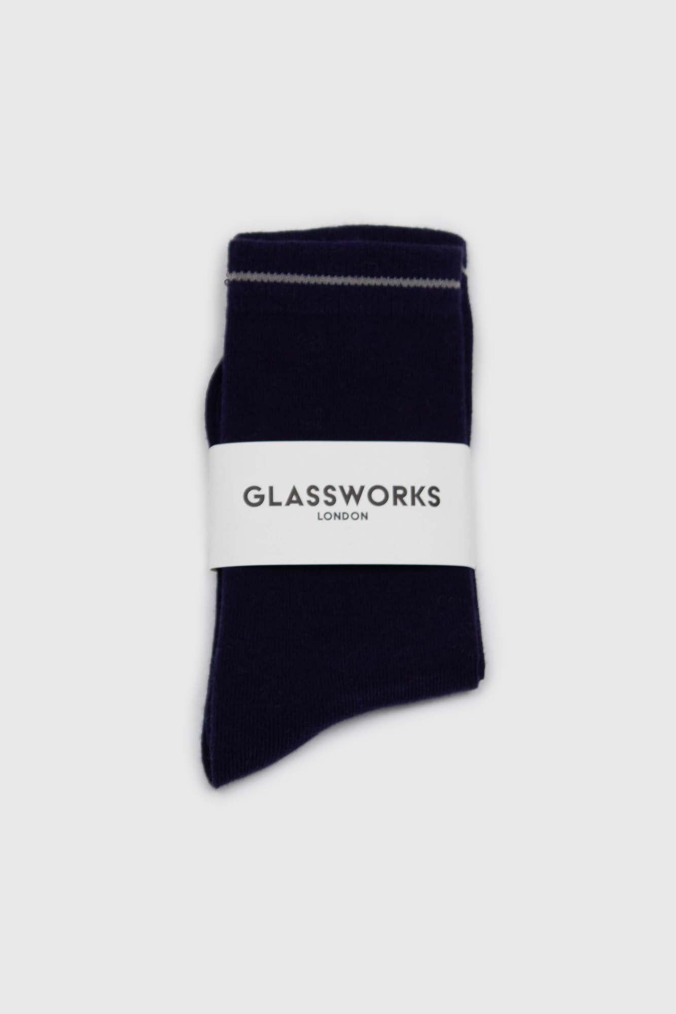 Navy and charcoal colorblock long socks2
