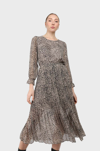 Grey animal print silky micro pleat long sleeved maxi dress1sx