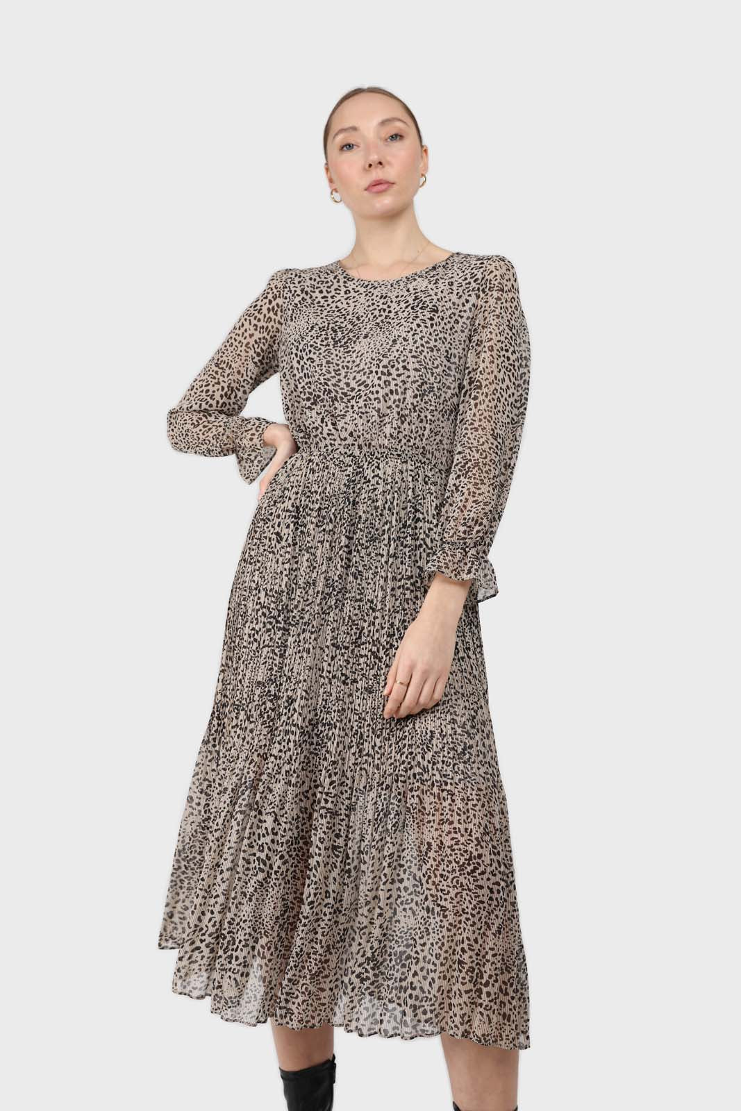 Grey animal print silky micro pleat long sleeved maxi dress2