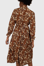 Load image into Gallery viewer, 22572_Brown floral tie neck maxi dress_11
